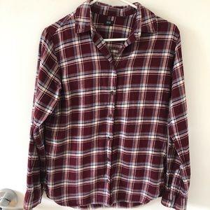 Uniqlo flannel plaid button down top s